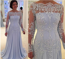 Wholesale white groom dress - Elegant Long Sleeves Mother of Bride Groom Dresses With Lace Appliques Sheer Neck Long Sleeves Mother Evening Dress Chiffon Prom Dress