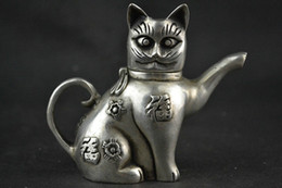 Wholesale Antique Chinese Tea - Chinese Collectible Decorate Handwork Old Tibet silver carving cat Lucky tea pot