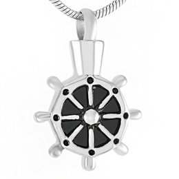 Wholesale Necklace Boat - IJD9391 Boat Wheel Stainless Steel Cremation Pendant Necklace Memory Ashes Keepsake Urn Funeral Necklace