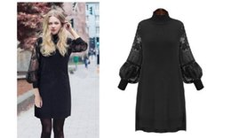 Wholesale Turtle Neck Black Lace Dress - women plus size mini dress lantern sleeves Europe American casual style spring new arrival 6sizes 3colors