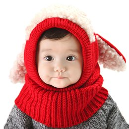 Wholesale Knitted Hats For Dogs - Winter Baby Hat and Scarf Joint With Dog Style Crochet Knitted Caps for Infant Boys Girls Children New Fashion Kids Neck Warmer
