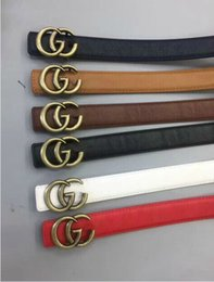 Wholesale Golden Women Belts - 2017 New Famous Brand Men Women Leather Belt Gold Buckle Women Genuine Leather Designer Belts