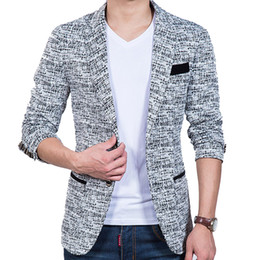 Wholesale Small Korean Jacket Coat - Wholesale- Korean Hitz small suit slim fit fashion cotton blazer Suit Jacket black blue beige blazers Mens coat jacquard