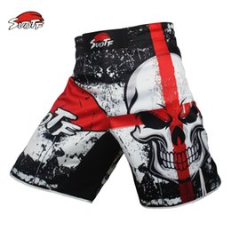 Wholesale Train Animal - Suotf Mma Black Boxing Skull Motion Picture Cotton Loose Size Training Kickboxing Shorts Muay Thai Shorts Cheap Mma Shorts Boxeo