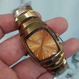 Wholesale Tungsten Watches For Men - New arrival fashion gold bracelet Tungsten steel watch men high quality quartz watches men best gift for man