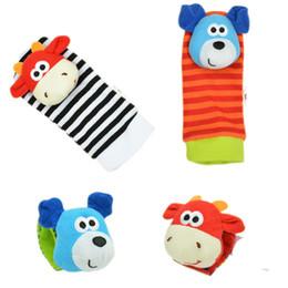 Wholesale Rattles Hands Foots - Wholesale- New 2pcs pair Baby Infant Toy Soft Handbells Hand Wrist Strap Rattles Animal Socks Foot Finders Developmental Toys