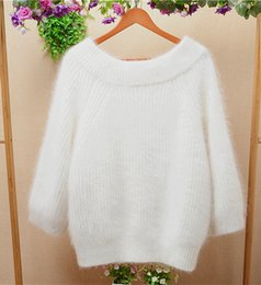 Wholesale Knitting Rabbit Coat - 2017 autumn and winter white thicken loose long hair fluffy angora rabbit fur long-sleeeve pullover sweater coat women cashmere sweater