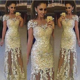 Wholesale See Through Lace Short Dresses - Light Gold Lace Prom Dresses Sheer Neck Cap Sleeves Tulle See Through Evening Gowns South African 2k18 Formal Party Dress Vestidos