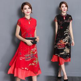 Wholesale silk red cheongsam dress - The explosion of 2017 summer new folk style long silk cheongsam loose collar dress