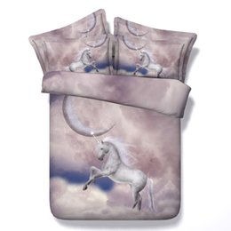 Wholesale Horse Comforter King Size - 6 Styles 3D Printed Moon White Unicorn Bedding Sets Twin Full Queen King Size Bedspreads Dovet Cover Sets Pillowcases Comforter Horse Animal