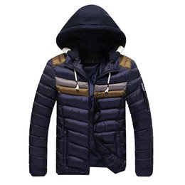 Wholesale Mens Down Winter Parkas - Wholesale- New Men Hooded Cotton Padded Jacket Winter Warm Down Jacket Casual Parka Thick Quilted Jackets Coat Mens