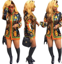 Wholesale Plus Size Spandex Shorts - New Fashion Women Short Mini Dress African printing Plus Size Dashiki Boho Long-sleeved single-breasted Shirt dress