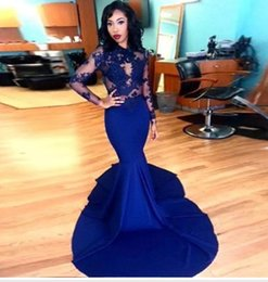 Wholesale Top Zuhair Murad - Gorgeous O-neck Long Sleeve Prom Dresses 2016 Top Lace Stretch Satin Mermaid Formal Celebrity Gowns New Royal Blue Zuhair Murad Evening Gown