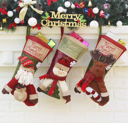Wholesale Large Christmas Candy Decorations - Large Christmas Stockings Gift Bags Santa Claus Candy sock Xmas Tree Hanging Ornament Decoration Merry Christmas