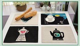 Wholesale Fabric Wholesalers Usa - Europe and USA fashion cotton and linen fabric placemat Cartoon printing insulation table mat English letter kitchen pad