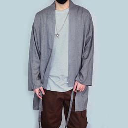 Wholesale Men S V Neck Cardigan - Wholesale- Men Long Sleeve Shirt Cardigan Sunscreen Overcoat Men Retro Chinese Style Loose Cotton Linen Shirts Fashion Hiphop Kimono A262
