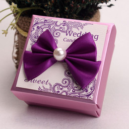 Wholesale Wedding Sugars Favors - European Style Purple Pink Wedding Candy Box With Bow Decoration Party Favors Gift Boxes Sugar Sweet Packing ZA3845