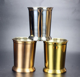 Wholesale Good Cup - 350ml Light Stainless Steel Mojito Mint Julep Mugs Three Colors Sessile Straight Cup Good Cup Good Feeling
