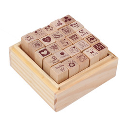 Wholesale Rubber Stamp Sets - Wholesale- Unique Style 25pcs box Love Diary Rubber Wooden Stamp Set DIY with Wooden Box Free Shipping