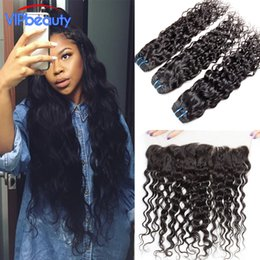 Wholesale Virgin Wavy Indian Hair Bundle - VIPbeauty Indian water wave lace frontal closure with 3 bundles,wet and wavy Indian virgin hair with closure