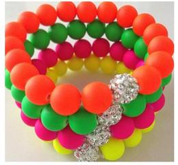 Wholesale Neon Bead Strands - Hot Neon Bracelet fluorescence Color Beads Disco Shamballa Ball stand stretch bracelets handcraft 9 color jewelry