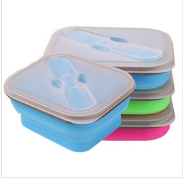Wholesale Foldable Containers - Foldable Silicone Lunch Boxes with Fork Collapsible Lunch Box Food Safe Container Silicone Lunch Boxes For Microwave KKA1329