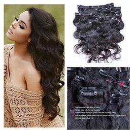 Wholesale Top Piece Clip Extensions - Top Quality Brazilian Body Wave Clip In Extensions 100g Unprocessed Human Hair Weaves 8 Pieces set Full Head Free Delivery