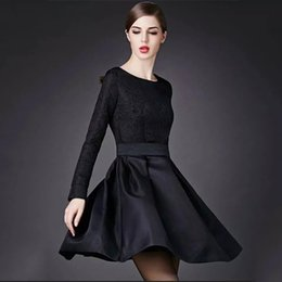 Wholesale Elegant Dresses For Work - Olivia Palermo Elegant Black Dresses Jacquard Long Sleeve Vintage Hoppen Style A-line Ball Gowns Slim Midi Casual Dresses for Work