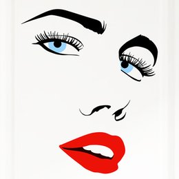 Wholesale Sexy Wall Decals - Sexy Eyes Wallpaper 3D Bedroom Wall Stickers FASHION Audrey Hepburn Art Home Decoration Make Your Own Decals Removable Pvc Wall Stickers