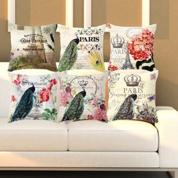 Wholesale Vintage Flower Throw - Peacock Flower Colorful Linen Cotton Cushion Cover Vintage Style Pattern Quote Pillowcase Waist Throw Pillows Cojines Flamingo