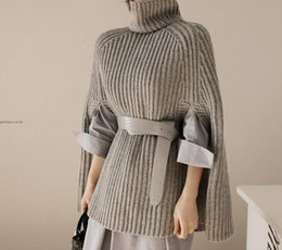 Wholesale Wool Knit Poncho - 2017091916 Grey Sweater Roll Neck Poncho Jumper With Arm Hole Women Sweaters and Pullovers Winter 2017 Ladies Elegant Sweater