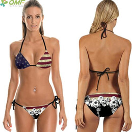 Wholesale Stripe Bikini Set - Vintage USA Flag Bikini Set Bandage Bathing Suits Harajuku Skulls Swimsuit Womens Push Up Brazilian Swimwear Red Stripes Print