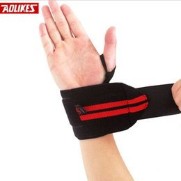 Wholesale Crossfit Wristbands - Wholesale- 2pcs Wristband Wrist Support Weight Lifting Gym Training Wrist Support Brace Straps Wraps Crossfit Powerlifting Bodybuilding
