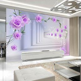 2019 estereos de rosas Custom 3D Photo Wallpaper European 3D Stereo Roses Roses Gran Mural Sala de estar TV de fondo Fondo de pintura de pared Papel tapiz rebajas estereos de rosas