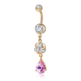 Wholesale christmas bells for sale - Hot Sale Charm AAA CZ Flower Body Piercing Jewelry Belly Button Ring Navel Jewelry for Women Drop Shipping