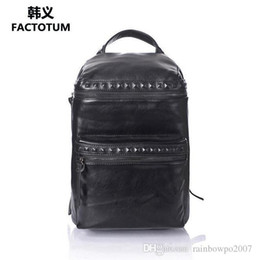 Wholesale Han Edition Leather Backpack - Factory WholeTide Man Bag Simple Rivet Double Zipper Han Edition Man Leather Backpacking Of Vintage Riveted Double Shoulder Backpack