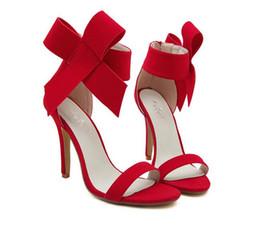 Wholesale Big Knot Tie - Wholesale-Plus Size Shoe Women Big Bow Tie Pumps 2015 Butterfly Pointed Stiletto Women Shoe High Heels Suede Wedding Shoe Zapatos De Mujer