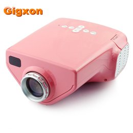 Wholesale Projector Pink - Wholesale- Gigxon - G03 Mini view Video Projector 50 ANSI Lumens 1080P HD mini home projector 200:1 Coaxial TV Input pink