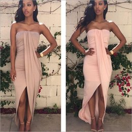 Wholesale Long Bandeau - 2017 Women's Fashion Sexy Sleeveless Strapless Bandeau Irregular Asymmetrical Long Dress Evening Cocktail Party Clubwear Dresses