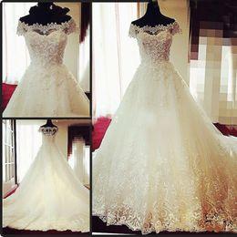 Wholesale Living Image - Vintage Lace Ball Gowns Wedding Dresses for Women Elegant Tulle Ivory Off Shoulder Sheer Neck Zipper Live Photos Bridal Gowns 2018