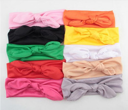 Wholesale Girls Turbans - Baby Kids Girl Bow Headband Rabbit Ears Hair Band Turban Knot Head Wrap YH403