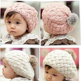 Meninas beanie anos crochet on-line-2017 chapéu do bebê caçoa a foto do bebê adereços gorro, faux pele de coelho gorros bebes gorro de crochê criança cap para 4 meses-3 anos de idade menina