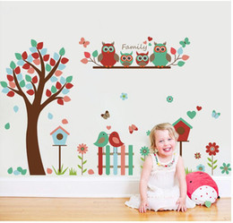Wholesale Forest Wallpaper For Home - Forest Animal Cartoon kindergarten Wall Stickers For Kids Rooms X010 Home Decor DIY Wallpaper Art Decals Nursery Home Decoration