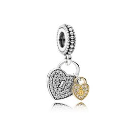 Wholesale Pandora Double Heart - 20pcs Crystal Drop Dangle Pendants Fit Charms Bracelet Wholesale Designs for Girls Mom Dad Beads Fit Pandora Bracelets Spacer Double Hearts