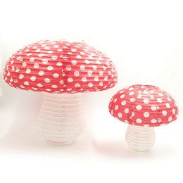 Wholesale Shower Hanging - Nicro 3D Paper Mushroom Hanging Lanterns Dots Red And White Girls Boys Birthday Party Baby Shower 1st Birthday Size:S M Wholesale