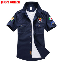 Wholesale American Button Down Shirt - Wholesale- 2017 New Men's Casual Shirt Short Sleeved Shirts Summer Air Force One MA-1 Cotton American Men Shirts Free Shipping WN 33