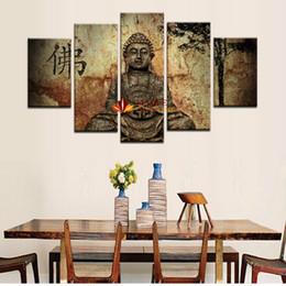 Wholesale 5 Peça Grande Arte Da Parede Da Lona Pintura de Buda Impressão Na Lona Moderna Abstrata Pictures Wall Decor Arte pinturas para sala de estar parede