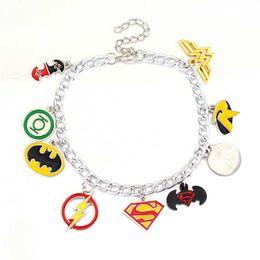 Wholesale Superman Bracelets - Justice league the Flash Green Lantern Superman batman Wonder Woman Star trek Superhero Cryatal beads Pendent Alloy Bracelet