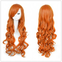 Wholesale Wig Orange Curly Long - Wholesale free shipping >>>Women's Totally Sexy Orange Long Curly Anime Costume Cosplay Wig