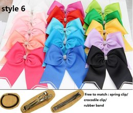 Wholesale Hair Style Child Girls - 6 style available ! 8inch jojo Girl Rhinestone Cheer Bow Handmade Ribbon Cheerleading Bow With Elastic Children Boutique Hair Bows 24PCS